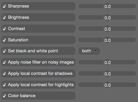 image enhancement settings
