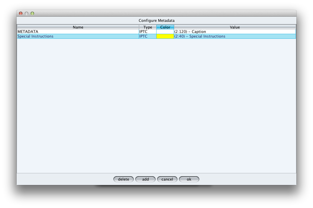 Screenshot of Inspector metadata settings