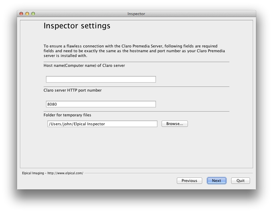 Screenshot of Inspector installation